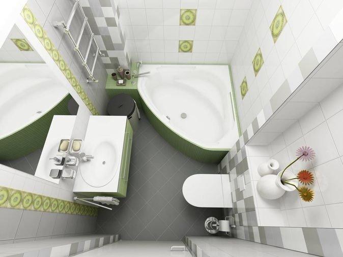 вариант дизайна маленькой ванной комнаты