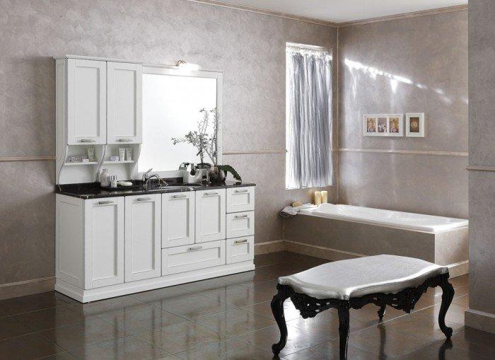 Ванная в стиле прованс должна быть достаточно просторной, чтобы в ней можно было уместить такой предмет мебели, как солидный комод