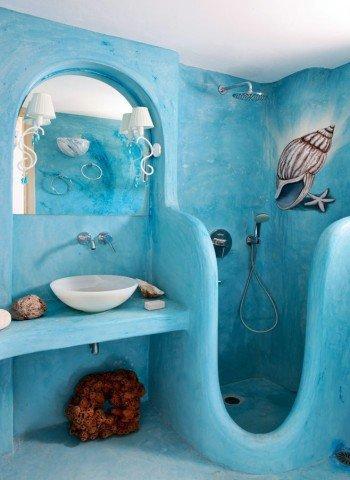 Морские рисунки в ванной