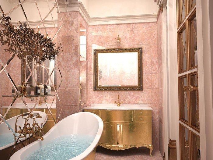 Имитация окна в ванной в прованском стиле