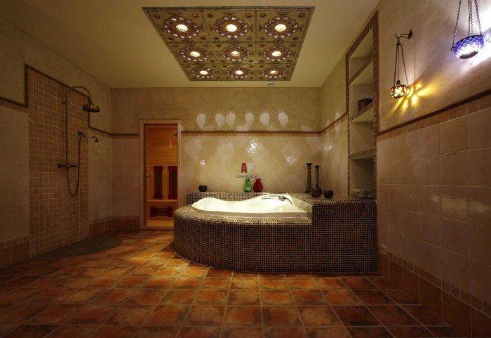 Интерьер ванной комнаты в марокканском стиле