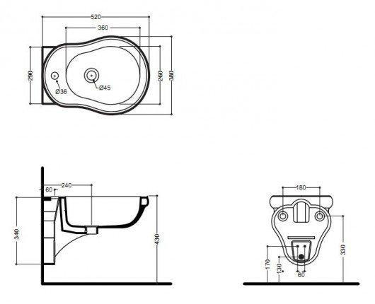 схематическое изображение биде со смесителем и сифоном