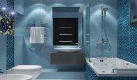 Дизайн ванной комнаты в синих тонах в стиле хай-тек