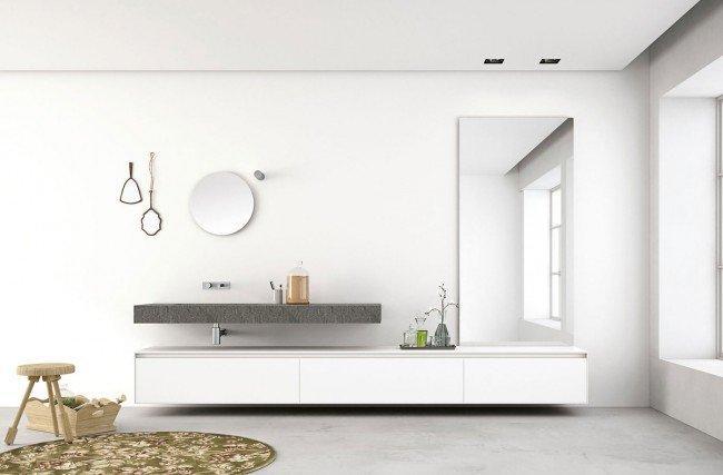 Светлая мебель в ванной в стиле хай-тек