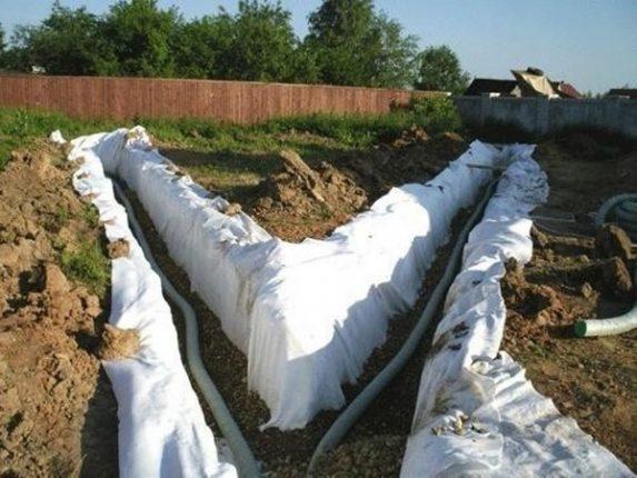 Защита дренажных труб геотекстилем