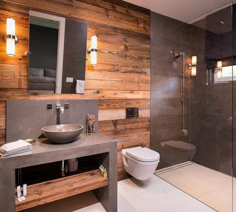 Древесина в ванне в стиле лофт