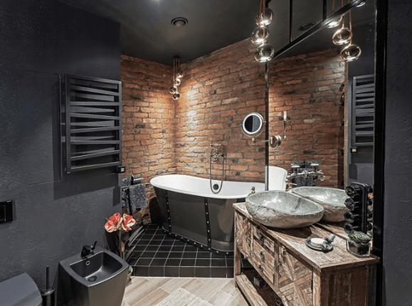 Сочетание разных материалов в стиле лофт применительно к ванной