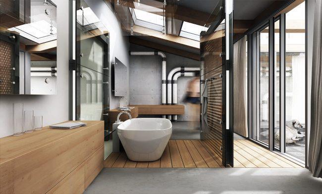 Дизайнерская ванная в стиле лофт