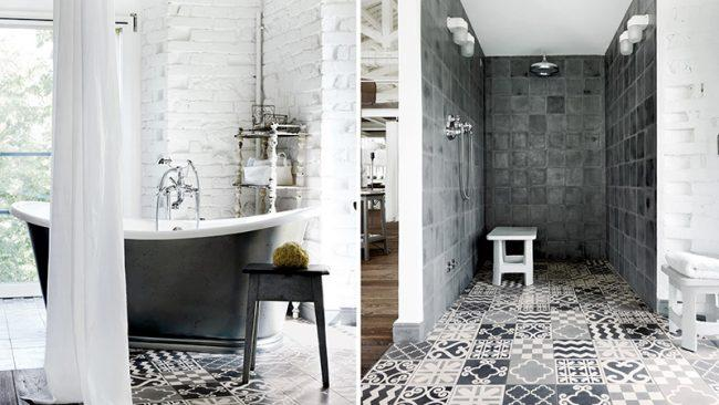 Плитка в оформлении ванной комнаты