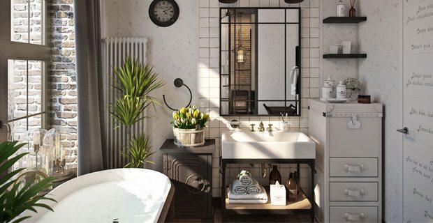Живые растения в оформлении ванной в стиле лофт