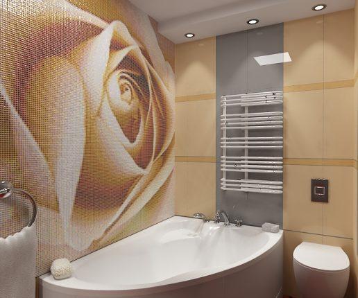 Плитка мозаика в ванной в виде розы, фото