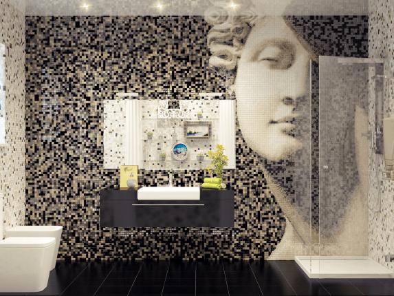 Плитка мозаика в ванной с античной скульптурой