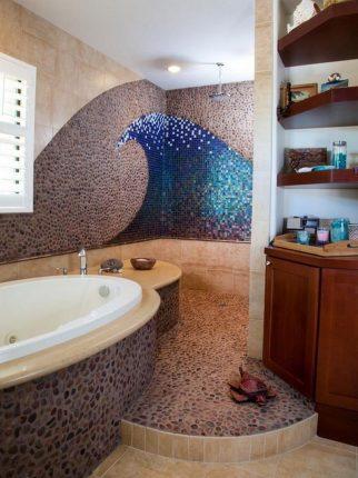 Плитка мозаика в ванной в виде волны