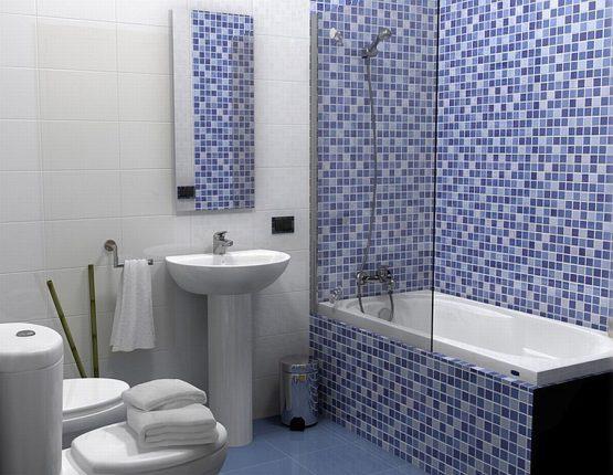 Простая плитка мозаика в ванной