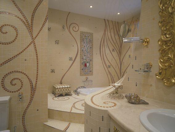 Бежевая плитка мозаика в ванной