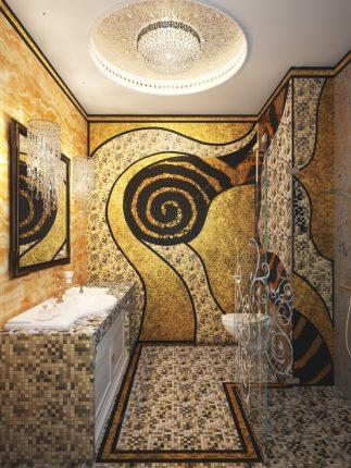 Плитка мозаика в ванной в стиле арт-деко