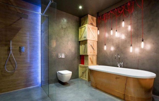 Висячии светильники в оформлении ванной