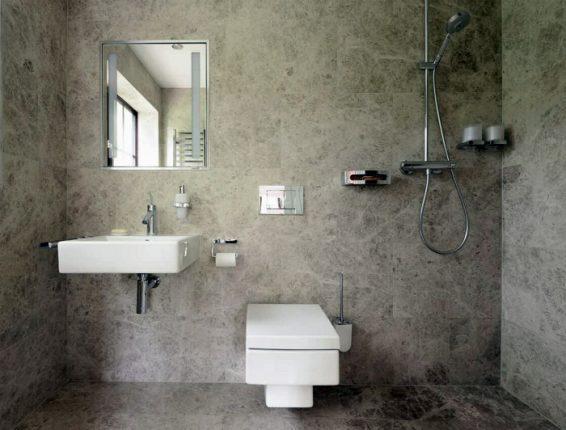 Современный дизайн ванной, совмещённой с туалетом