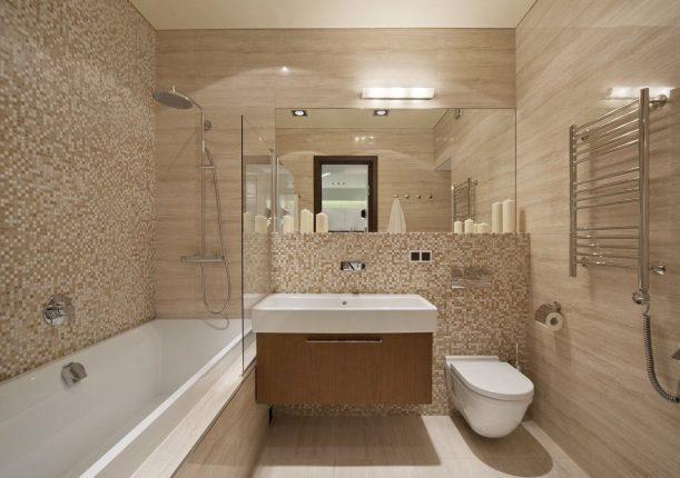Современная ванная комната, совмещённая с туалетом