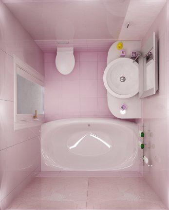 Дизайн ванной комнаты в розовых тонах