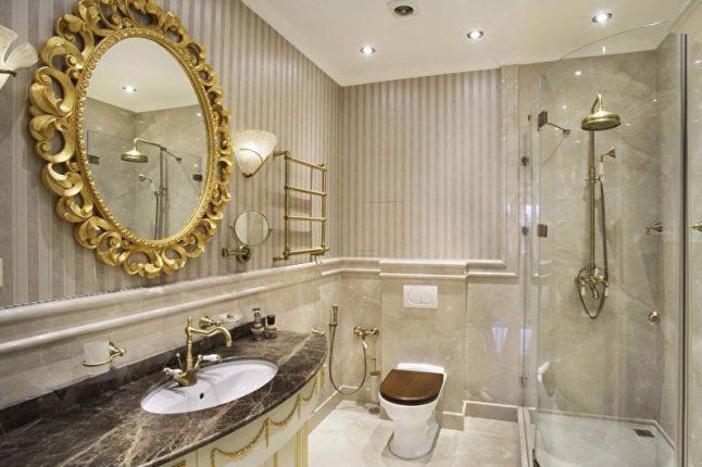Краны под бронзу в дизайне ванной комнаты