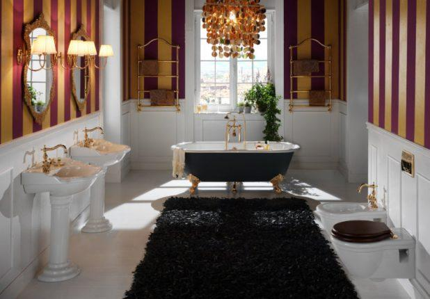 Ванная комната в классическом стиле с контрастными цветовыми сочетаниями