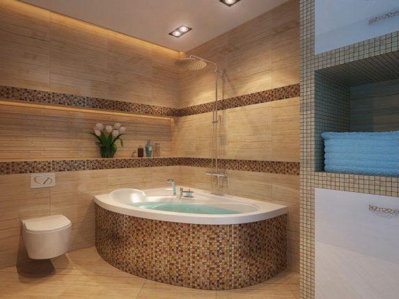 Угловая ванна, отделанная мозаикой
