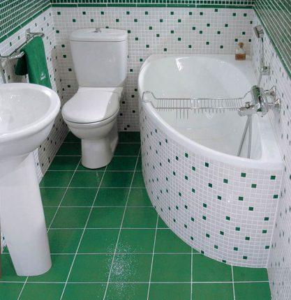 Угловая ванна для небольшого помещения