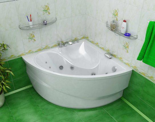 Угловая ванна для маленькой комнаты