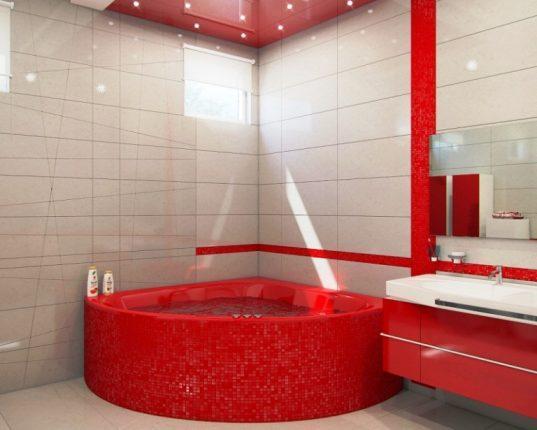 Яркая красная угловая ванна