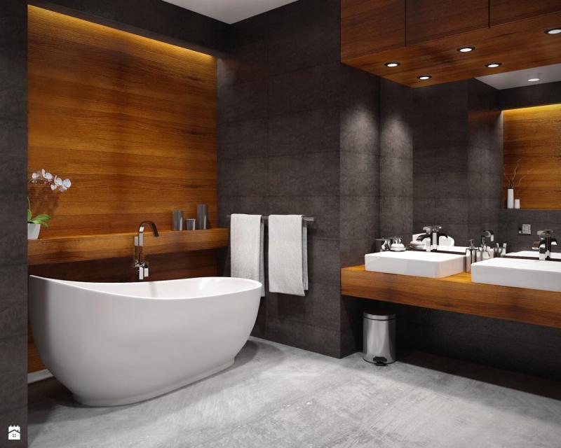 Плитка под дерево в ванной — 15 идей