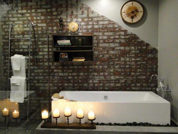 Уютная ванная в стиле лофт
