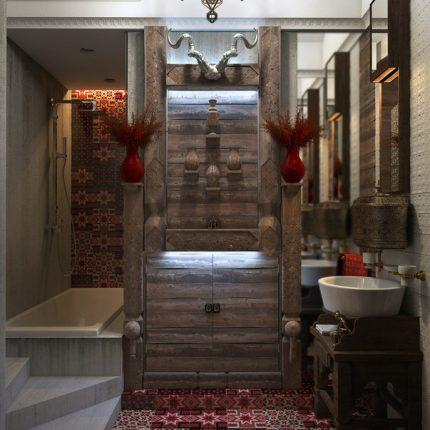 Фото необычной ванной в деревенском стиле