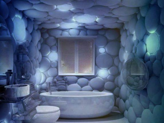 Оригинальная отделка ванной камнем