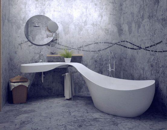 Оригинальная ванная комната в стиле минимализм