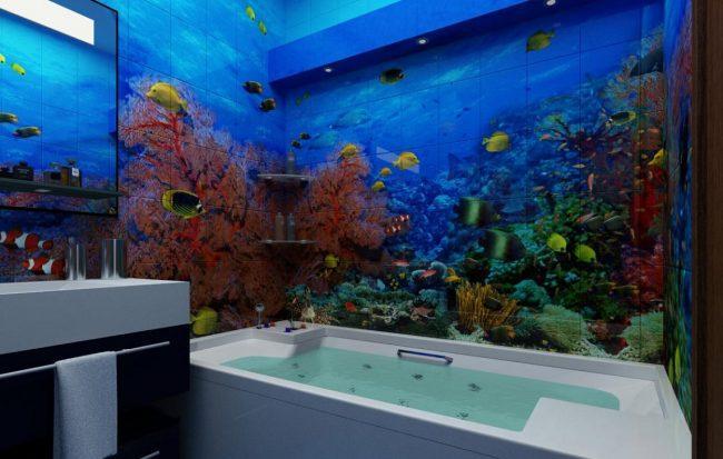 Отделка ванной комнаты под аквариум