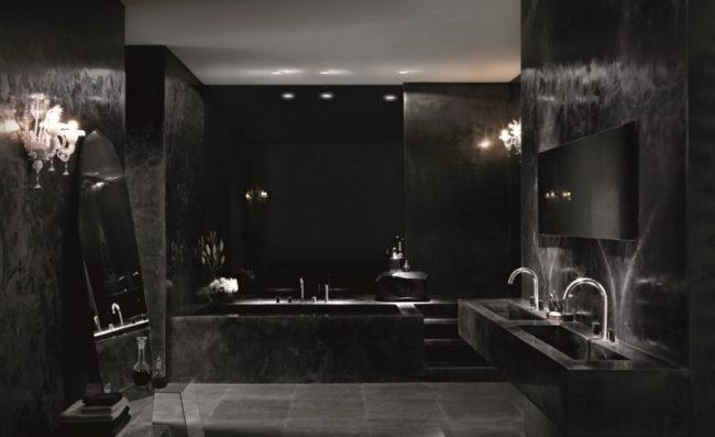 Интерьер ванной комнаты в чёрном тоне