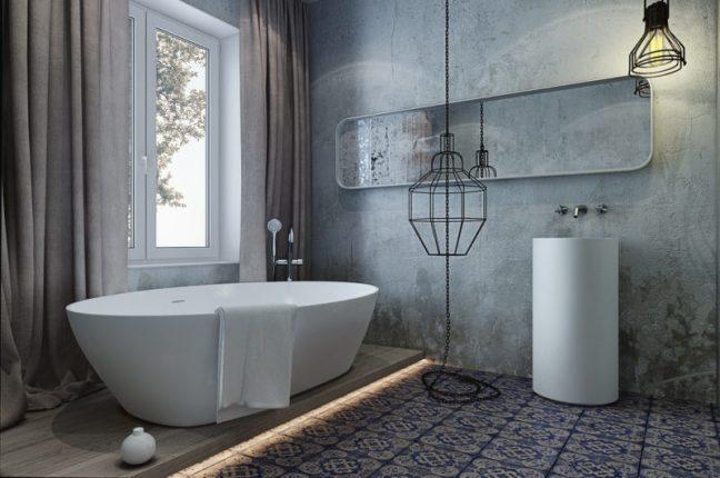 бюджетный дизайн ванной комнаты в стиле лофт