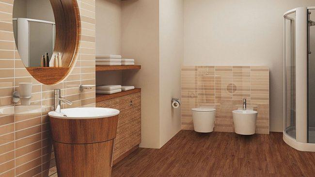 бюджетный дизайн ванной комнаты с отделкой деревом