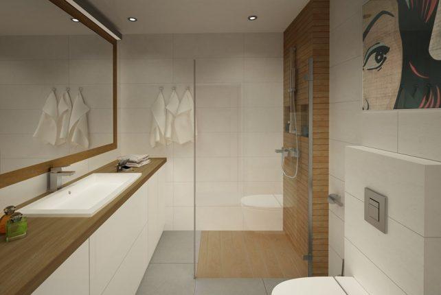 Зеркало в интерьере маленькой прямоугольной ванной комнаты