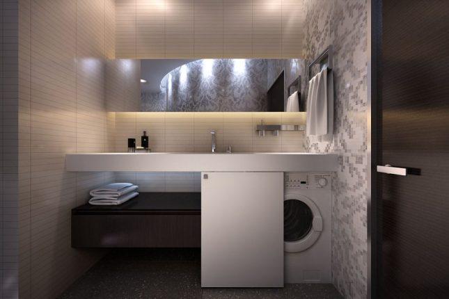 ванная комната со стиральной машиной дизайн