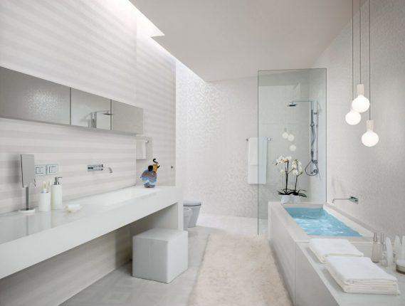 дизайн ванной комнаты в белых тонах с серым цветом