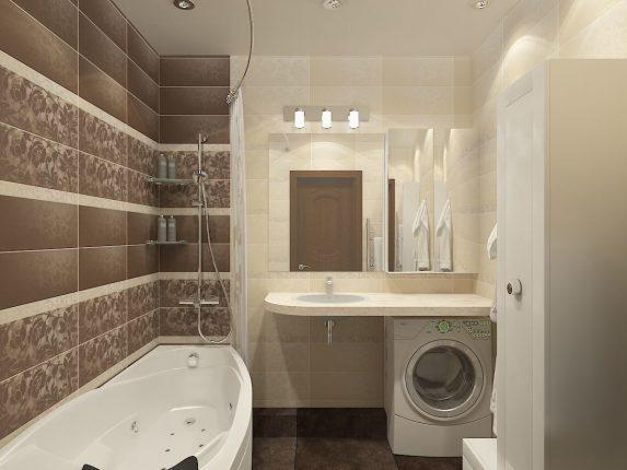 дизайн светлой плитки для маленькой ванной комнаты