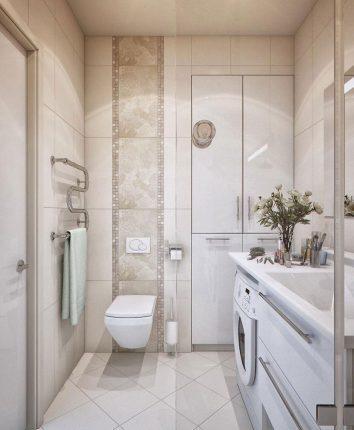 плитка светлый оттенков в дизайне маленькой ванной комнаты