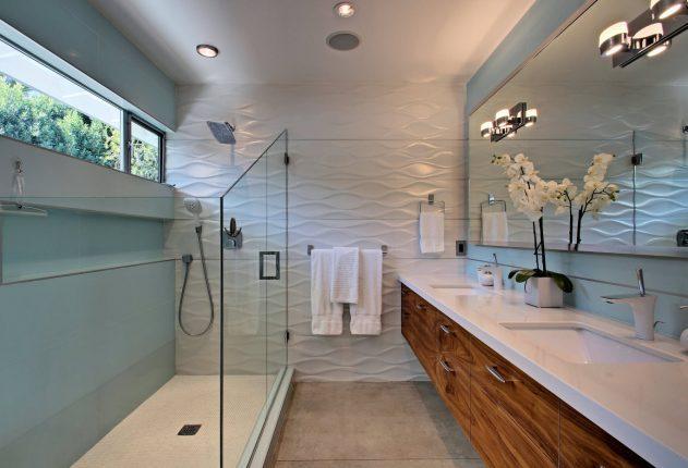 3D плитка в дизайне ванной комнаты