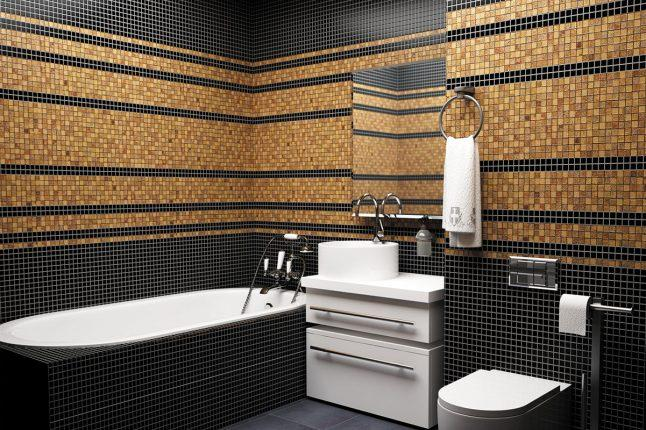 мозаика в ванной комнате в черно-коричневых цветах