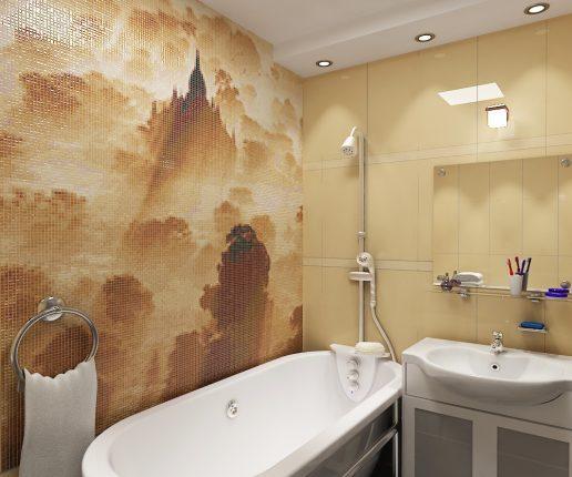 мозаика в ванной комнате с рисунком