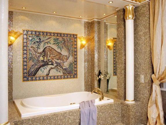 мозаика в ванной комнате с панно
