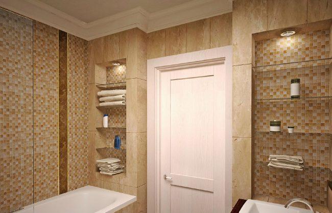 оформление ниш мозаикой в ванной комнате