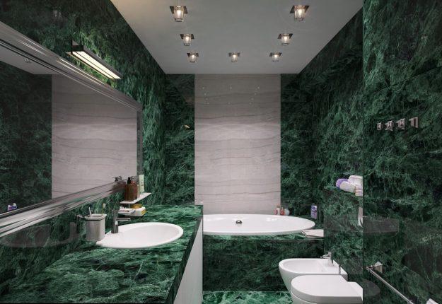 Имитация камня зелёного оттенка в дизайне ванной комнаты